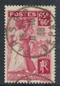 FRANCE SCOTT B75 USED F/VF - 1938 65c + 60c ROSE CARMINE SEMI-POSTAL  CV $5.75