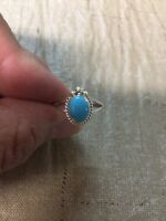 Native American Womens Navajo Turquoise Sterling Silver Ring Size 7 Beautiful!!!