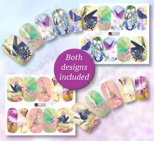 2x Butterfly Nail Wraps, Nail Decals, Water Stickers Butterflies Nails Art A1302
