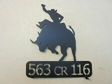 COWBOY BULL RIDER MAILBOX TOPPER (YOUR NAME) TEXTURED BLACK POWDER COAT FINISH