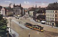 uralte AK, Chemnitz Falkeplatz Tramp Straßenbahn Schienen Pferdefuhrwerk 1916