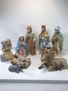 Vintage Homco Home Interiors #5603 Christmas Nativity Complete 9 Piece Set