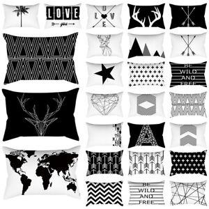 Black White Geometric Throw Cushion Cover Short Plush Rectangle Pillow Case 18''
