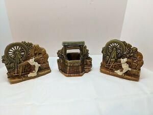 3 McCoy Dog and Cat by Spinning Wheel Double Planter Art Pottery wishing well