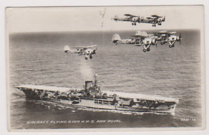 AIRCRAFT FLYING OVER H.M.S. ARK ROYAL - POSTCARD - RP