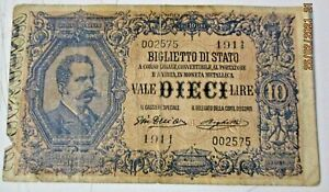10 LIRE DALL'ARA RIGHETTI 23/04/1914 originale BB