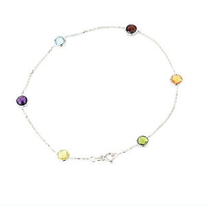 14K White Gold Anklet With Faceted Round Gemstones 10.5 Inches