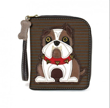 NEW CHALA BULLDOG STRIPED BLACK BROWN ZIPPERED WALLET FAUX LEATHER