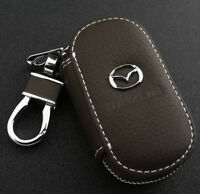 Coffee Cowhide leather Car Key Holder Keychain Ring Case Bag Fit For Mazda Auto