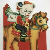Vintage Mid Century Christmas Greeting Card Cute Bear Mittens On A Pony Die Cut