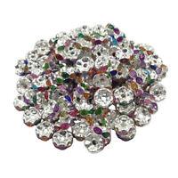 20 Perle Rondelle strass Argenté 8mm Couleur Mixte Multicolore Creation Bijoux