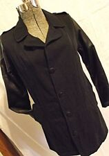 JET John Eshaya USA Womens Black Blazer Jacket 100% Cotton Lamb Leather Sleeves