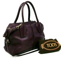 $1895 Tods D Styling Bauletto Plum Purple Leather Medium Tote Hand Bag Authentic