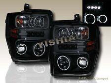 2008-2010 FORD F250/F350/F450 Black CCFL Twin Halo Projector Headlights L.E.D
