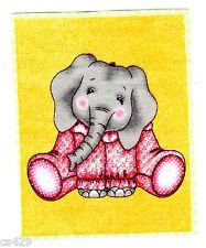 "3.5"" Bazooples Jungle Babies Elephant Animal Fabric Applique Iron On"