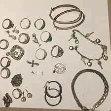 No hay tiempo. por lo tanto gran Lote De Plata Maciza joyas vintage para despejar.