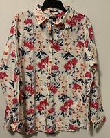 Lands End Sz 18 Shirt Floral No Iron Supima Cotton Long Sleeve Plus Size Top