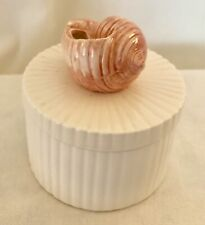 Fitz & Floyd Ff Japan Sea Shell Dresser Trinket Box Covered dish Pink Shell