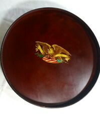"Round Wood & Leather Serving Tray 14"" Brown American Eagle"