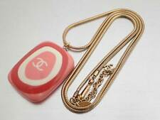 Auth CHANEL CC Logo Pendant Necklace Pink/Goldtone Resin/Metal - e43326
