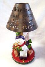 Gund Candle Holder Tealight Snowman Metal Shade Scandinavian Holiday Orig Box