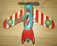 Vintage Ohio Art Coast Guard Airplane Tin wind up Toy in good working condition
