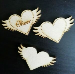 Personalised Wooden Heart with wings for Family Tree Wedding  etc 3cm