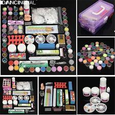 Nail Art Acrylic Glitter Powder Liquid Set Brush Glue Tip Manicure Tool With Box
