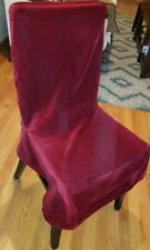 6pc Set Pottery Barn Chair Covers Deep Red Crimson Velvet Cotton Armless Dining