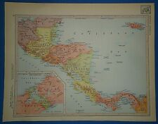 Vintage Circa 1952 Central America Map Old Original Atlas Map - Free S&h