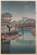 Kawase Hasui (Japanese 1946-1957) Shinagawa Original Woodcut Print 1931