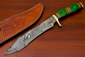 Rody Stan HAND MADE DAMASCUS BLADE BOWIE HUNTING KNIFE - BRASS GUARD - AS-5230