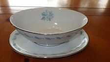 Abalone China Sky FLower Gravy Boat with attached underplate trimmed in Platinum