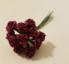 "Lot 144pcs Burgundy Satin Ribbon Roses Flowers 12mm 1/2"" 1/2 Inch on Wire Stem"