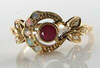 LOVELY 9CT 9K GOLD SUN MOON CREST INDIAN RUBY OPAL & PEARL ART DECO INS RING