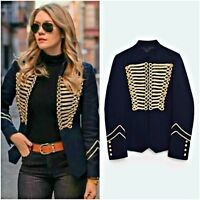 ZARA Navy Blue Military Style Jacket Gold Toggles Authentic Woman XS 8057/697
