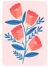 FINE ART GREETING CARD FLOWERS Red Flower BIRTHDAY Blank RISOGRAPH MELISSA DONNE