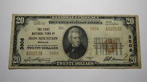 $20 1929 Iron Mountain Michigan MI National Currency Bank Note Bill Ch. #3806 VF