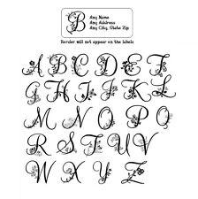 30 Return Address Labels Alphabet Monogram Floral Buy 3 get 1 free (Fl8)