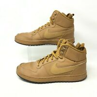 Nike Ebernon Mid Winter Wheat Sneakers Casual Shoes Lace Up Leather Brown Men 10