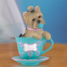 Infused with Fun Yorkie Dog in a Teacup Figurine Bradford Exchange