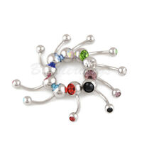 Lot of 10pcs 14G Belly Button Ring Double Jeweled Gem Navel Rings Surgical Steel
