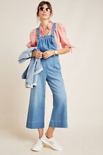 Anthropologie Pilcro Blue Cropped Wide-Leg Denim Jumpsuit Overalls Size 30