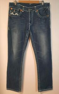 TRUE RELIGION ~ Mens Billy Super T Mid Blue Denim Straight Leg Jeans  36 USA