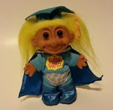 "troll doll grad graduate graduation superhero cape tassle 4"" blue outfit"