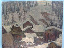 Ölgemälde Holzarbeiter Waldarbeiter Pferde-Fuhrwerk Säge Albert Heinzinger ~1945