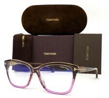 Tom Ford FT5597-B 020 Light Brown Purple / Blue Block 56mm Eyeglasses TF5978-B