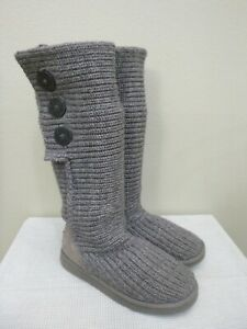 UGG CLASSIC CARDY 8 39 Gray Knit Tall Button Sheepskin Shearling Fur Winter Boot