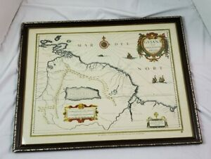 Guyana Map Reproduction 1660 Blaue Dutch Chase Manhattan Bank 1980's Framed Rare