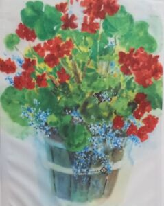 """Geraniums by Judy Buswell, Artist Garden Flag by Toland # 375,    11"""" x 14.5"""""""